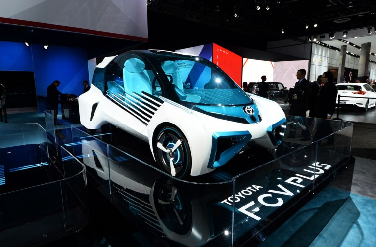 The Toyota FCV Plus is pictured during the press preview of the 2016 North American International Auto Show in Detroit, Michigan, on January 12, 2016. (JEWEL SAMAD/AFP/Getty Images)