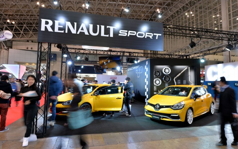 Renault Sport displays the company's latest passenger cars at Tokyo Auto Salon 2016 at Makuhari Messe in Chiba on January 15, 2016. The exhibition, which is one of the largest annual custom car and car-related product shows, is being held from January 15 to January 17. (AFP Photo/Kazuhiro Nogi)