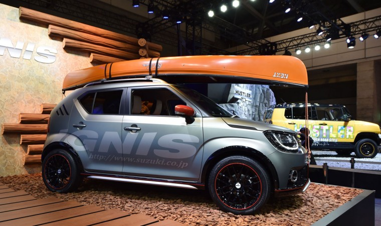 Suzuki Motor displays the Ignis water activity concept at Tokyo Auto Salon 2016 at Makuhari Messe in Chiba on January 15, 2016. The exhibition, which is one of the largest annual custom car and car-related product shows, is being held from January 15 to January 17. (AFP Photo/Kazuhiro Nogi)