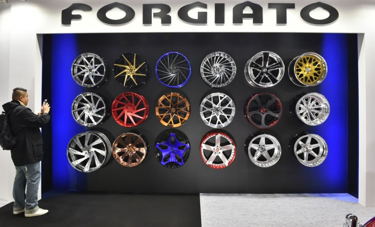 Wheel brand FORGIATO displays wheels at Tokyo Auto Salon 2016 at Makuhari Messe in Chiba on January 15, 2016. The exhibition, one of the largest annual custom car and car-related product show, held here over the three-day period from January 15 to January 17. (AFP Photo/Kazuhiro Nogi)