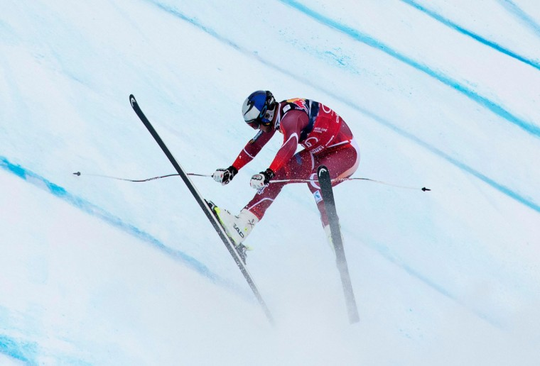 Aksel Lund Svindal of Norway crashes as he competes during the men's downhill of FIS Ski World cup in Kitzbuehel,Austria on January 23, 2016. (JOE KLAMAR/AFP/Getty Images)
