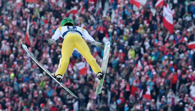 Peter Prevc of Slovenia competes during the FIS Ski Jumping World Cup Team Competition on January 23, 2016 in Zakopane. (PIOTR NOWAK/AFP/Getty Images)