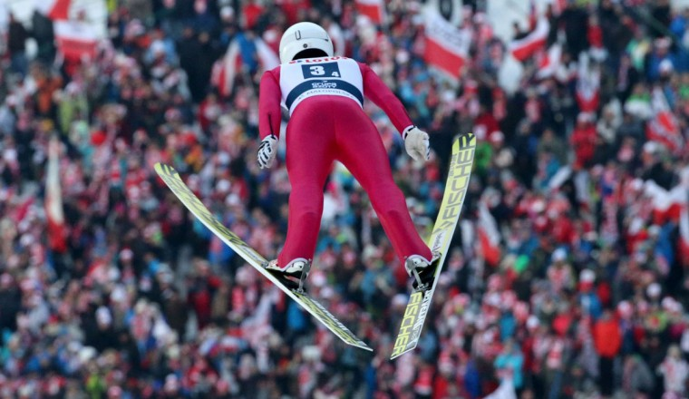 Simon Ammann of Switzerland competes during the FIS Ski Jumping World Cup Team Competition on January 23, 2016 in Zakopane. (PIOTR NOWAK/AFP/Getty Images)
