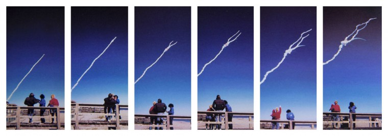 In this series of Jan. 28, 1986 photos, the space shuttle Challenger explodes shortly after lifting off from the Kennedy Space Center in Cape Canaveral, Fla. A family from Michigan watches the explosion from Shepard Park in Cocoa Beach. (Malcolm Denemark/Florida Today via AP)