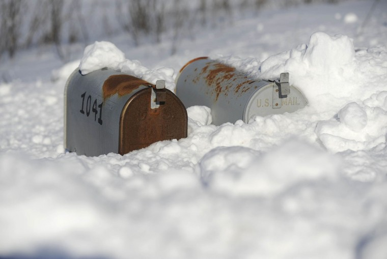 Mailboxes are covered with snow along Hook Road in Westminster Sunday, Jan. 16, 2016. (Dylan Slagle/Carroll County Times)