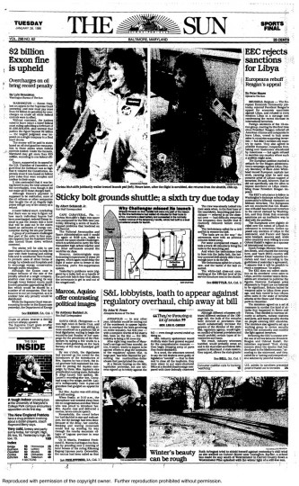 "The Baltimore Sun front page from Tuesday, January 28, 1986. ""Sticky bolt grounds shuttle; a sixth try due today"""