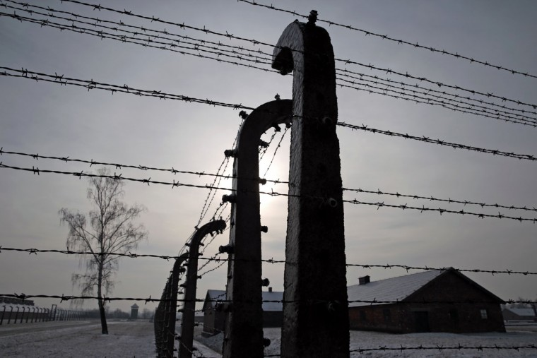 Former Auschwitz-Birkenau concentration camp is pictured through a barbed wire fence during ceremonies to mark the 69th anniversary of the liberation and commemorate the victims of the Holocaust in Birkenau January 27, 2014. The world marks International Holocaust Remembrance Day on January 27 to remember those who died during the Nazi organised genocide during World War Two that cost the lives of millions of Jews, Roma and Sinti, homosexuals and opponents to Germany's fascist regime and its collaborators. (REUTERS/Kacper Pempel)