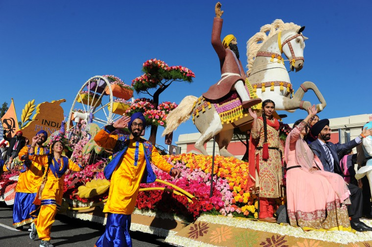 "The United Sikh Mission float ""A Sikh-American Journey"" moves down Colorado Boulevard in the 127th Rose Parade in Pasadena, Calif., Friday, Jan. 1, 2016. (AP Photo/Michael Owen Baker)"