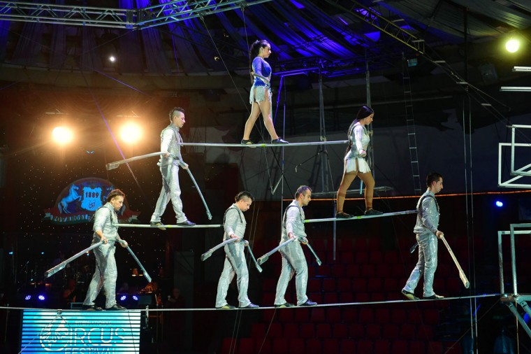 Members of 'The Gerlings' of Columbia perform at the Capital Circus during the 11th edition of the International Circus Festival on January 8, 2016 in Budapest. The festival takes place from January 7 to 11, 2016. (ATTILA KISBENEDEK/AFP/Getty Images)