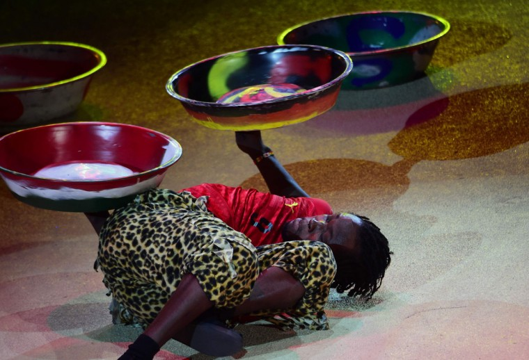 Juggler Isaac Aborah of Ghana performs at the Capital Circus during the 11th edition of the International Circus Festival on January 7, 2016 in Budapest. The festival takes place from January 7 to 11, 2016. (ATTILA KISBENEDEK/AFP/Getty Images)