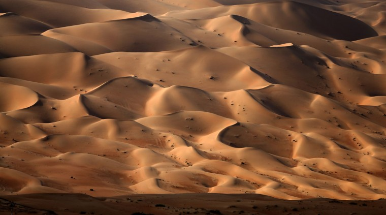 A picture taken on January 5, 2016, during the Liwa 2016 Moreeb Dune Festival shows the Liwa desert, some 250 kilometers west of the Gulf emirate of Abu Dhabi. (KARIM SAHIB/AFP/Getty Images)