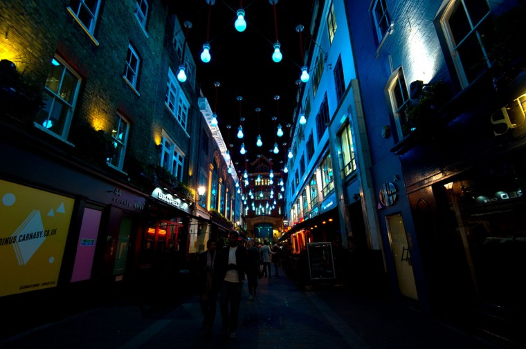 Visitors walk through Soho during the Lumiere London exhibition on January 14, 2016 in London, England. The first Lumiere exhibition in London is a free festival of light with exhibits placed in 30 locations across the capital. The event will run from January 14 to January 17. (Photo by Ben Pruchnie/Getty Images)