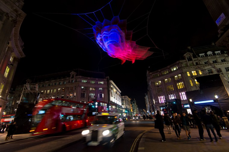 1.8 London by artist Janet Echelman is exhibited over Oxford Street during the Lumiere London exhibition on January 13, 2016 in London, England. The first Lumiere exhibition in London is a free festival of light with exhibits placed in 30 locations across the capital. The event will run from January 14 to January 17. (Photo by Ben Pruchnie/Getty Images)