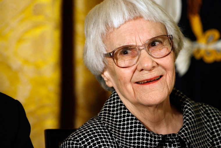 """FILE - Pulitzer Prize winner and """"To Kill A Mockingbird"""" author Harper Lee smiles before receiving the 2007 Presidential Medal of Freedom in the East Room of the White House November 5, 2007 in Washington, DC. The Medal of Freedom is given to those who have made remarkable contributions to the security or national interests of the United States, world peace, culture, or other private or public endeavors. (Chip Somodevilla/Getty Images)"""
