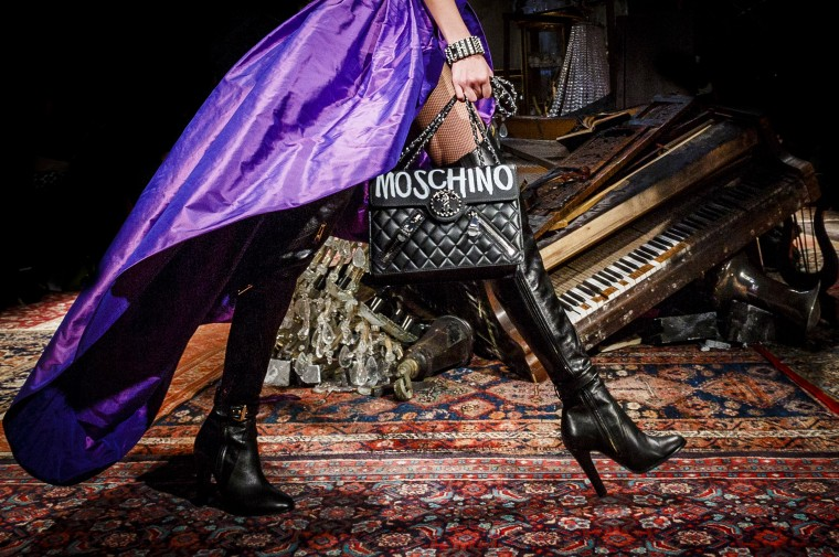 A model walks the runway at the Moschino fashion show during Milan Fashion Week Fall/Winter 2016/17 on February 25, 2016 in Milan, Italy. (Photo by Tristan Fewings/Getty Images)