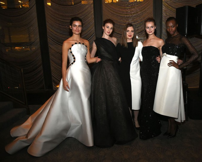 Elizabeth Kennedy (C) poses with models at the Elizabeth Kennedy presentation during Fall 2016 New York Fashion Week at The Four Seasons Restaurant on February 10, 2016 in New York City. (Photo by Ben Gabbe/Getty Images)