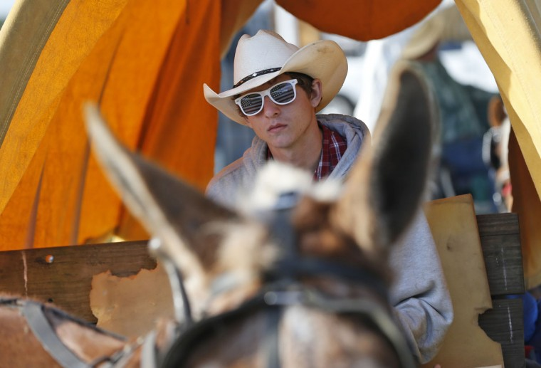In this, Tuesday, Jan. 26, 2016 photo, John Bowden, 16, from the Florida Sheriff's Youth Ranch, waits for the start of the second day of the Great Florida Cattle Drive 2016, in Kenansville, Fla. (AP Photo/Wilfredo Lee)