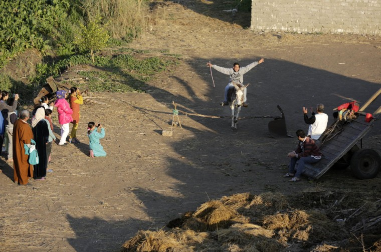 In this Friday, Feb. 5, 2016 picture, Ahmed Ayman, 14, rides his donkey as she leaps Equestrian-style over a barrier in the Nile Delta village of Al-Arid about 150 kilometers north of Cairo, Egypt. ìI have never seen a jumping donkey before. We even tried it with another donkey and when it reached the barrier it stopped,î said Abdel-Moneim Sayed, Aymanís uncle. (AP Photo/Amr Nabil)