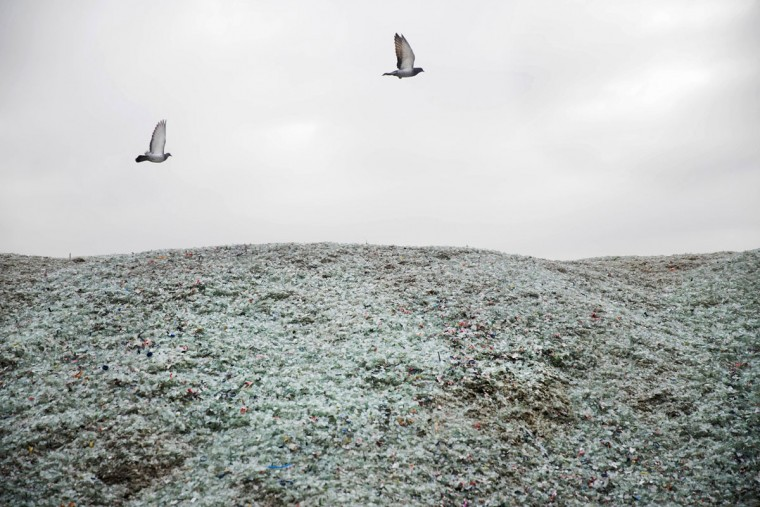 In this Sunday, Jan. 24, 2016 photo, birds fly above broken glass later to be recycled at the Phoenicia Glass Works Ltd. factory in the southern Israeli town of Yeruham. Phoenicia Glass Works Ltd. produces a million bottles and containers a day for beverage giants Coca Cola, Pepsi, and Heineken, as well as Israeli wineries and olive oil companies. Every day, about 300,000 bottles come out of the ovens with defects. (AP Photo/Oded Balilty)