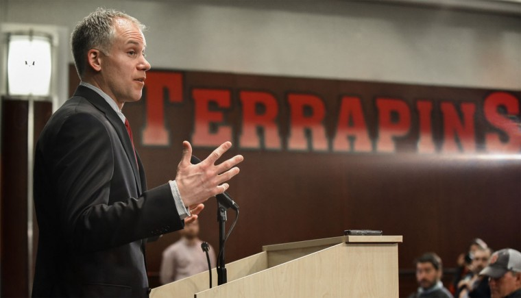 Maryland head football coach DJ Durkin talks about his first recruiting class during a Wednesday afternoon press conference in College Park. (Photo by Doug Kapustin for The Baltimore Sun)