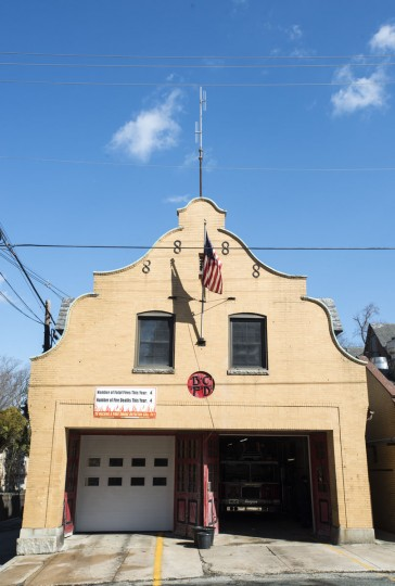 The Engine No. 44 fire station at Roland Avenue and Upland Road in Roland Park. It was built in 1899. (Emma Patti Harris/Baltimore Sun)