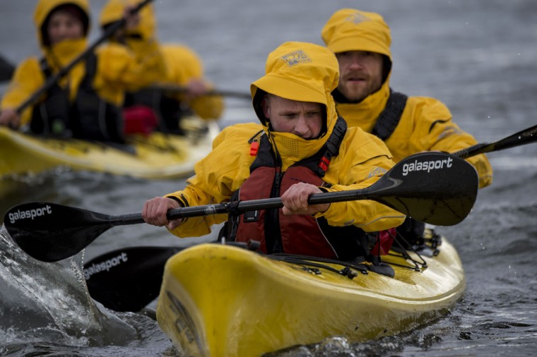 German team Campz Adventure kayaking in a practice before the Patagonian Expedition Race, in the southern Chilean Patagonian region near Punta Arenas, on February 14, 2016. (MARTIN BERNETTI/AFP/Getty Images)