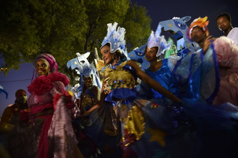 Revelers perform during the 2016 National Carnival Parade on February 9, 2016 in Port-au-Prince, Haiti. (HECTOR RETAMAL/AFP/Getty Images)