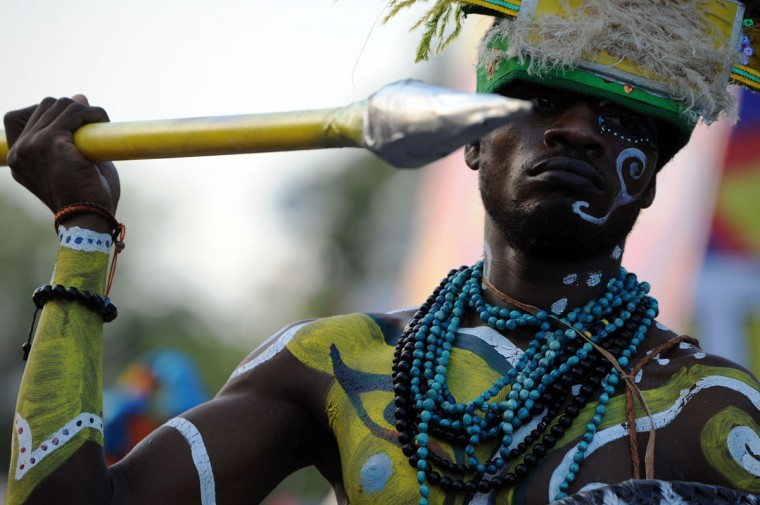A reveler performs during the 2016 National Carnival Parade on February 9, 2016 in Port-au-Prince, Haiti. (HECTOR RETAMAL/AFP/Getty Images)
