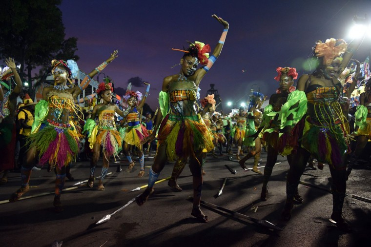 Revelers perform during the 2016 National Carnival Parade on February 10, 2016 in Port-au-Prince, Haiti. (HECTOR RETAMAL/AFP/Getty Images)