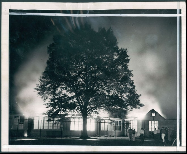The Roland Park Country School was engulfed in flames in 1947. (Baltimore Sun photo)