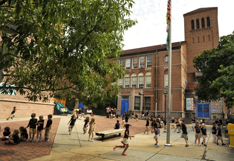 At Roland Park Elementary/Middle School, the younger elementary students have recess in front of the school. Roland Park parents are campaigning for recess for their middle school students, in the large playground behind the school. (Amy Davis, Baltimore Sun, Sept. 22, 2011)