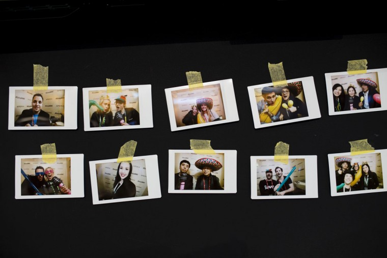 Polaroid photographs taken with a smart phone are shown at Sony XperiaX stand during the Mobile World Congress Wireless show in Barcelona, Spain, Wednesday, Feb. 24, 2016. (AP Photo/Francisco Seco)