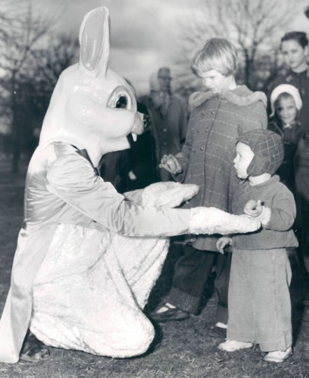 Ida Ruth and Neil Potter meet the Easter Bunny at Patterson Park. (Ellis Malashuk/Baltimore Sun, 1958)