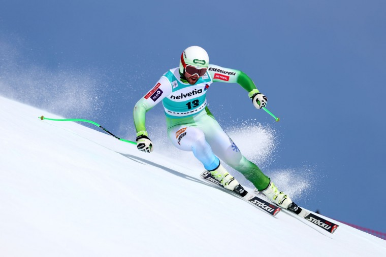 Bostjan Kline of Slovenia in action during the Audi FIS Alpine Skiing World Cup downhill training on March 15, 2016 in St Moritz, Switzerland. (Photo by Clive Rose/Getty Images)