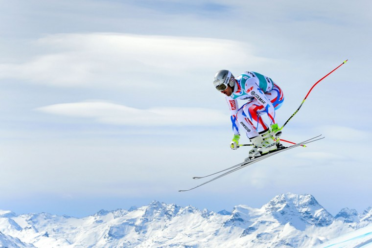 France's Adrien Theaux jumps during the men's downhill practice at the FIS Alpine Skiing World Cup finals on March 15, 2016 in St. Moritz. (Fabrice Coffrini/AFP/Getty Images)