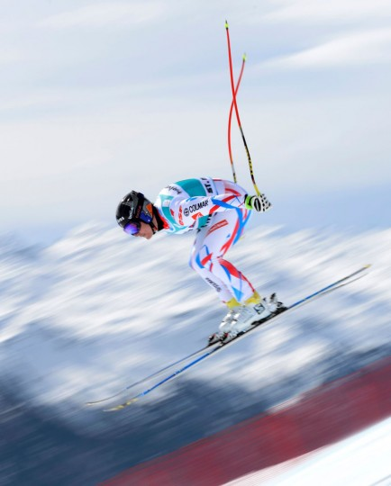 France's Valentin Giraud Moine jumps during the men's downhill practice at the FIS Alpine Skiing World Cup finals on March 15, 2016 in St. Moritz. (Fabrice Coffrini/AFP/Getty Images)