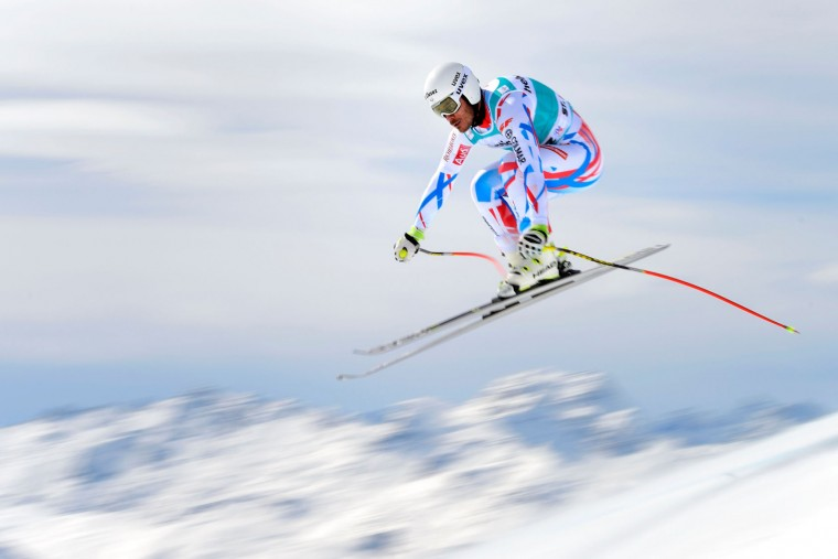 France's Johan Clarey jumps during the men's downhill practice at the FIS Alpine Skiing World Cup finals on March 15, 2016 in St. Moritz. (Fabrice Coffrini/AFP/Getty Images)