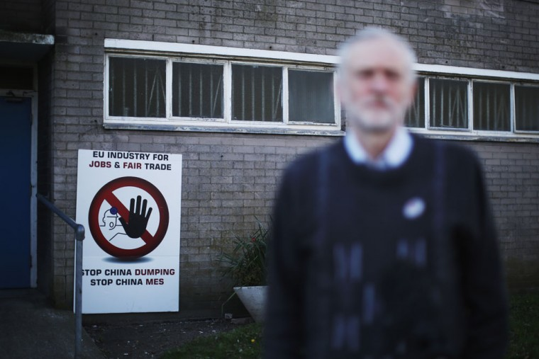Labour leader Jeremy Corbyn speaks to the media at the Tata Sports Club on March 30, 2016 in Port Talbot, Wales. Indian owners Tata Steel put its British business up for sale yesterday, placing thousands of jobs at risk and hitting the already floundering UK steel industry. (Photo by Christopher Furlong/Getty Images)