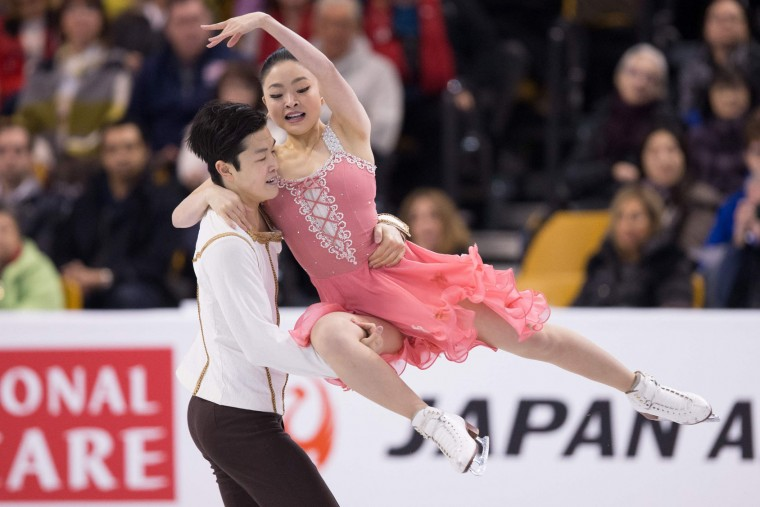 Maia Shibutani and Alex Shibutani of the United States skate during the Ice Dance short dance at the ISU World Figure Skating Championships at TD Garden in Boston, Massachusetts, March 30, 2016. (Geoff Robins/AFP/Getty Images)