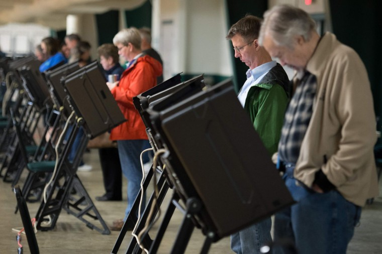 Voters cast their ballots at the McGee Community Center on March 1, 2016 in Conway, Arkansas. Americans began voting in the crucial Super Tuesday primaries and caucuses in what is deemed the most critical day in the presidential nominating process. The first state to open its polling stations was Virginia at 6:00 am. (Michael B. ThomasAFP/Getty Images)