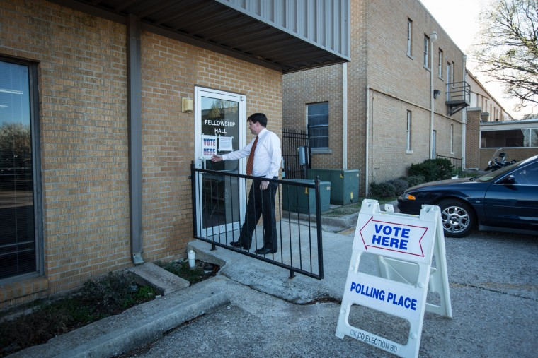 An Oklahoma voter heads to vote at Mayfair Baptist Church on Super Tuesday March 1, 2016 in Oklahoma City. Oklahoma voters head to the polls for the 2016 Presidential Primary. (Photo by Brett Deering/Getty Images)