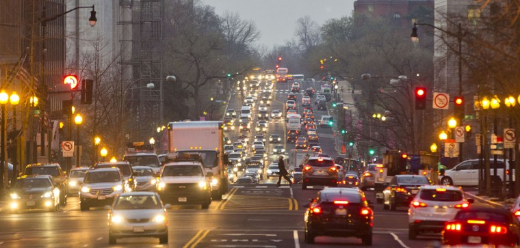 Morning traffic builds up on 14th street NW in downtown Washington, Wednesday, March 16, 2016. The Metro subway system that serves the nation's capital and its Virginia and Maryland suburbs shut down for a full-day for an emergency safety inspection of its third-rail power cables. Making for unusual commute, as the lack of service is forcing some people on the roads, while others are staying home or teleworking. (AP Photo/Pablo Martinez Monsivais)