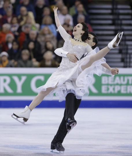 Anna Cappellini and Luca Lanotte, of Italy, compete during the Ice Dance short program at the World Figure Skating Championships, Wednesday, March 30, 2016, in Boston. (AP Photo/Elise Amendola)