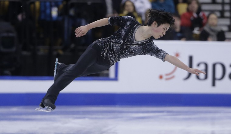 Shoma Uno, of Japan, competes during the men's short program in the World Figure Skating Championships Wednesday, March 30, 2016, in Boston. (AP Photo/Steven Senne)