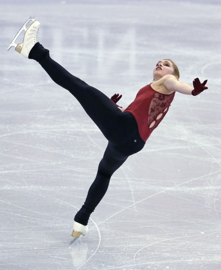 Alaine Chartrand, of Canada, performs during a ladies practice session at to the World Figure Skating Championships in Boston, Tuesday, March 29, 2016. (AP Photo/Charles Krupa)