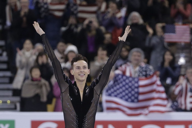 Adam Rippon, of the United States, completes his routine during the men's short program in the World Figure Skating Championships Wednesday, March 30, 2016, in Boston. (AP Photo/Steven Senne)