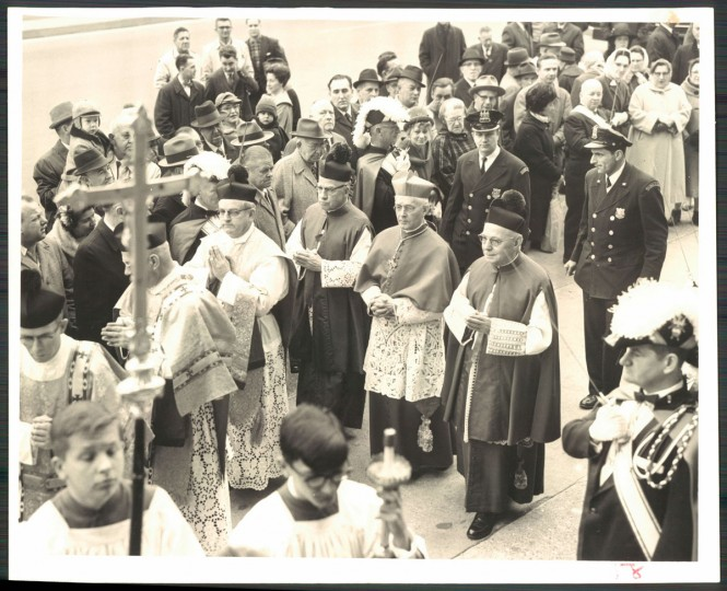 """St. Patrick's Day Observed. Cardinal Shehan was in the procession today leading to St. Patrick's Church, Broadway and Bank streets, where a Mass was offered as a part of the city's St. Patrick's Day observance."" March, 1965. (Nolan, The Baltimore Sun)."