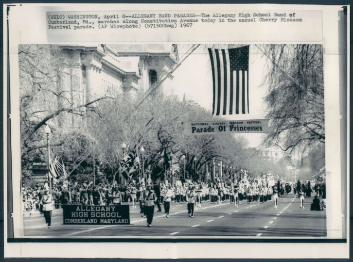 The Allegany High School band of Cumberland, Md., parades in Washington, D.C. in a photo dated April 9, 1967.