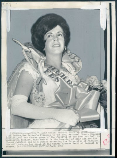 "The caption for this photo from April 16, 1967, reads ""Pamela Rudden, a junior at the University of Maryland, who reigned as queen of this year's Cherry Blossom Festival."""