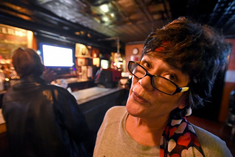 Eydie Magliano, a regular customer, stopped in at the Venice Tavern to socialize on a Sunday evening. (Amy Davis/Baltimore Sun)
